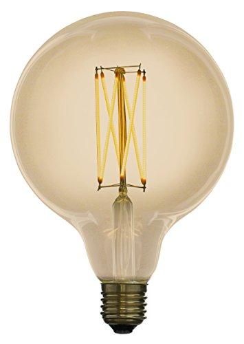 Led Zen LZG3041A Ampoule décorative LED à Filament G125 E27 4W Finition ambrée diamètre 125 mm dimmable, Verre, 4 W