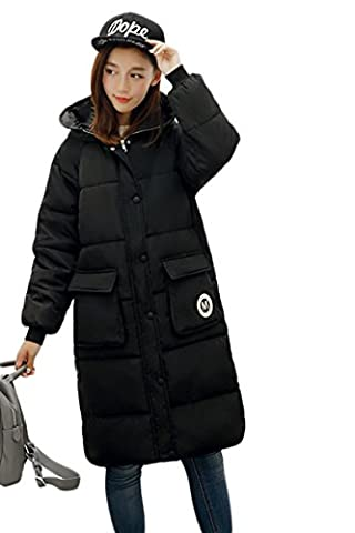 YMING Damen Winter Übergangsmantel Daunenmantel Daunenjacke Lang Mantel Jacke Parka Mit Kapuze,Schwarz M