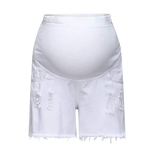 Double Hero Umstandsjeans Cargo Shorts Kurze Hose Umstandsshorts Casual Maternity Shorts Umstandsmode Damen Einfarbig Hose Locker Loch Hohe Taille Mode Freizeithose Schwangerschaftshose (L, Weiß) -