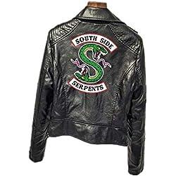 ZZBM Riverdale South Side Serpientes Mujer Impreso Chaqueta Jacket De Motocicleta De Cuero (1,EU S(Asian L))