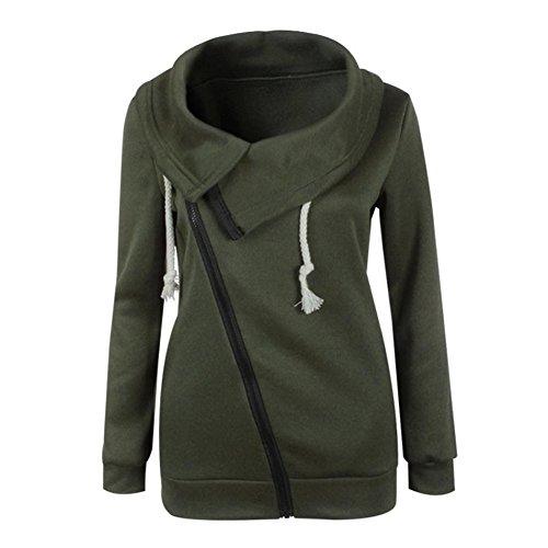 Tongshi Invierno de las mujeres de la blusa de la cremallera con capucha sudadera con capucha capa de la chaqueta (S,