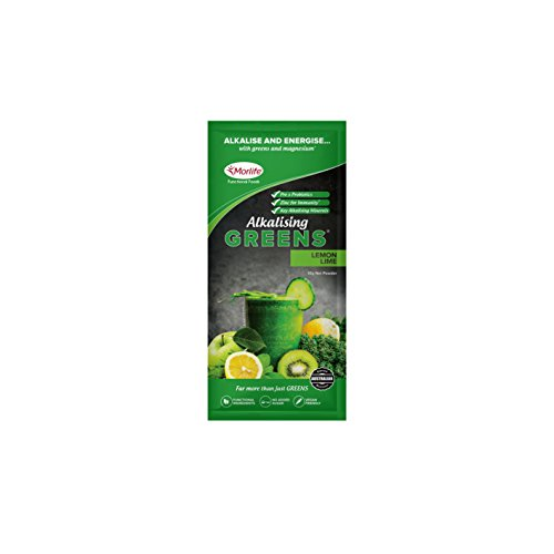 Morlife Alkalising Greens Lemon Lime Handy Pack 14 x 10g – 19 Super Greens, Fruits and Vegetables, Pre & Probiotics, Key Alkalising Minerals, Vegan Greens Powder, Lemon Lime, 14 single serves