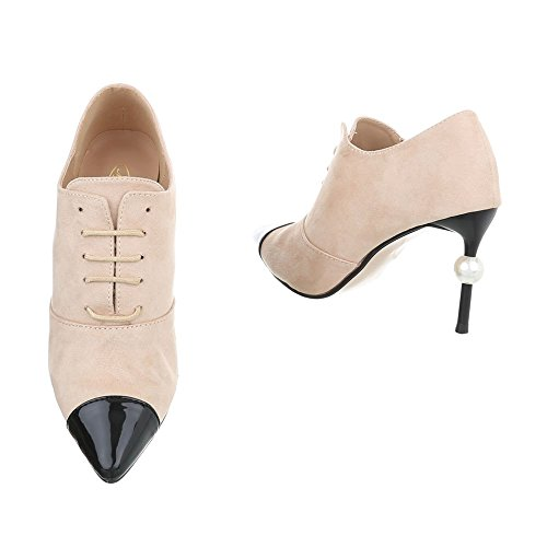 Chaussures femme Bottes et bottines Aiguille Ankle Bottes Ital-Design beige G-19