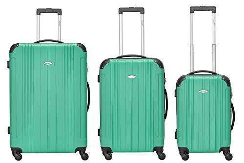 Packenger Kofferset - Goliath - 3-teilig (M, L & XL), 4 Rollen, Koffer mit Zahlenschloss, Hartschalenkoffer (ABS) Robuster Trolley Reisekoffer (Türkis)