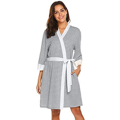 Allence Damen Morgenmantel Kimono Kurz Robe Bademantel Nachtwäsche Gestreiftes Sleepwear V-Ausschnitt Still-Nachthemd für Schwangere mit Spitze&Gürte -
