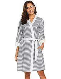 Vestido de Lactancia Maternidad de Noche Camisón Mujeres Embarazadas Ropa de Dormir Premamá Pijama Verano Rayas