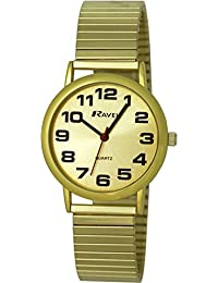 Ravel Easy Read Watch on Expandable Men's Quartz Watch with Gold Dial Analogue Display and Gold Stainless Steel Gold Plated Bracelet R0208051S