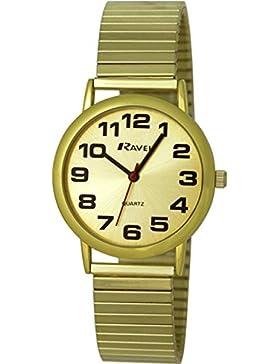 Ravel leicht lesbare Uhr an dehnbarem Men'- Armbanduhr Analog Quarz Edelstahl Gold R0208051S Armband vergoldet