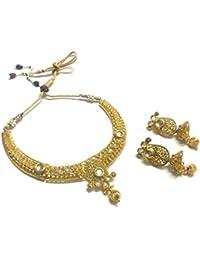 OranGey Fashion - A Beautiful Gold Plated Kundan Adorned Necklace Set With BeautifulEar Drop