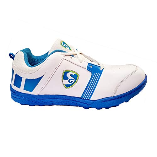 SG Light Weight Economy White/Aqua/Royal Blue Rubber Studs Cricket Shoes (7 UK)