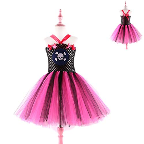 Flügeln Kostüm Dinge Mit - DONGBALA Piratenkleidung, Halloween Mädchen Kleid Cosplay Kostüm Schulaufführung Karneval verkleiden Sich Party Performance Suit für Mädchen,Pink,100cm