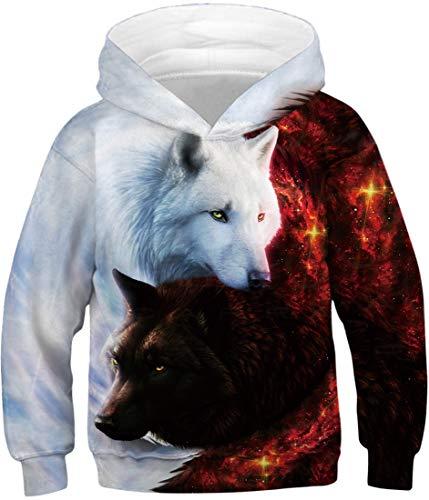 EMILYLE Jungen Kapuzenpullover Tierdruck Galaxie Kinder Weihnachten Warm Hoodie (XS(Tag 105-115cm), Rotweiß Wolf)