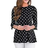 Damen Tops, Geili Damenmode Dreiviertel Ärmel Rüschen Kleine Rundhalsausschnitt Dot Print Bluse T-Shirt Tops preisvergleich bei billige-tabletten.eu