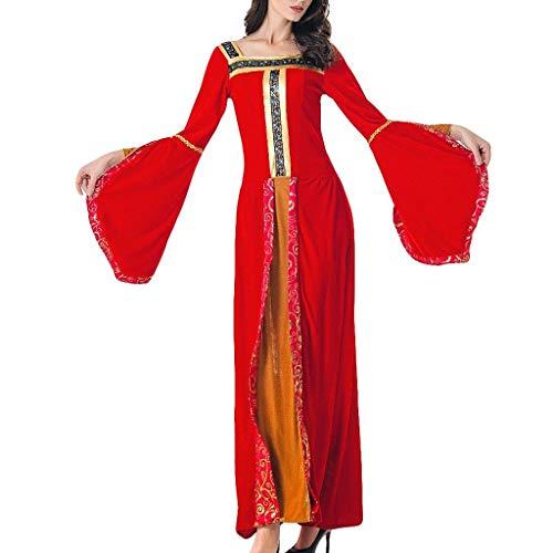 Halloween Cosplay Mittelalterliches Kostüm Kleid Damen Rot Kleider Festlich Lang Lomelomme Cosplay Kostüm Frauen Kleider Lange Ärmel (Mittelalterliche Braut Kostüm)
