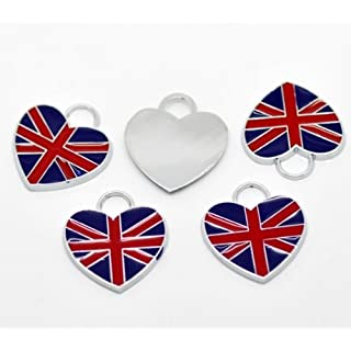 CKB LTD 100x Heart Pendants Charm Wholesale UK Union Jack Flag For Necklace Silver Tone