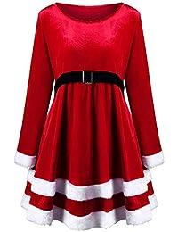 WWricotta Damen Weihnachten Kleid Elegant SAMT Langarm Kleid Rot Festival Party Kleid bendkleid Ballkleid Cocktailkleid Women Christmas Dress