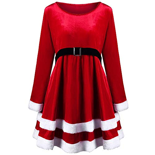 OverDose Damen Frohe Weihnachten Frauen Printed Long Sleeve Abend Prom Party Tanz Cosplay Schlank Kostüm Swing Kleid Rock(Rot,EU-38/CN-L)