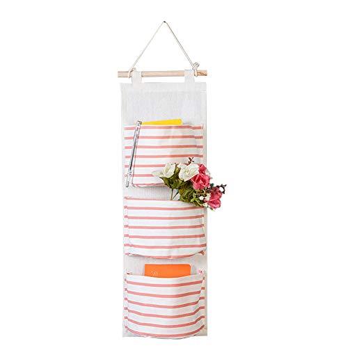 JUNGEN Sacchetti di immagazzinaggio appesi a Parete a Strisce semplici con 3 Tasche Giocattoli per Bambini appesi Sacchetti dell\'organizzatore (Rosa)