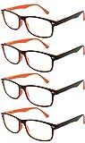 TBOC Occhiali da Vista Lettura Presbiopia - [Pack 4 Unità] +2.50 Diottrie Montatura Bicolore Arancione e Nera Fashion Leggeri Quadrati da Vicino per Computer Donna e Uomo Unisex Aste Cerniere Molla