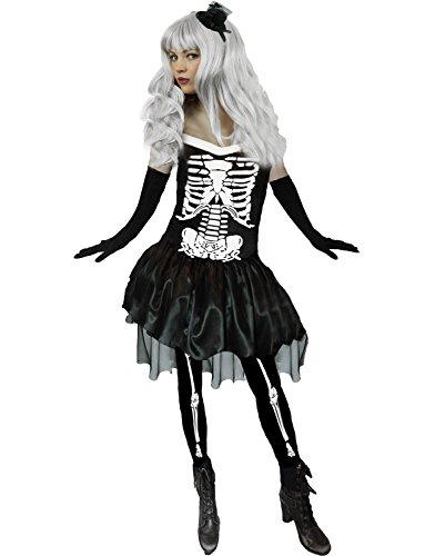 Yummy Bee - Skelett Karneval Fasching Halloween Kostüm + Knochen Strümphose + Hut Damen Größe 36-44 ()