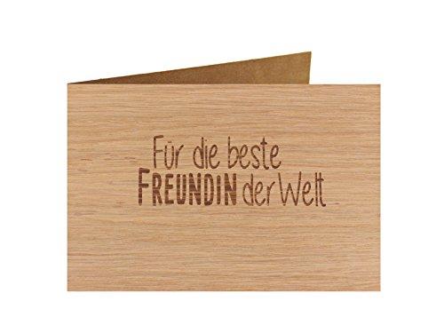 Holzgrußkarte - BESTE Glückwunschkarte- 100% handmade in Österreich - Postkarte, Geschenkkarte, Grußkarte, Klappkarte, Karte, Einladung, Motiv:BESTE FREUNDIN