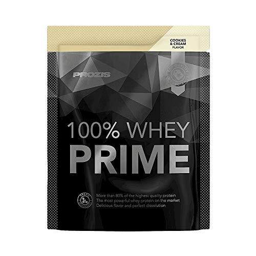 Prozis 100% Whey Prime Protein Pulver 2.0 25g - Kekse & Sahne Geschmack - 21g Molke mit Creatin, BCAAs, Taurin & L-Glutamin verstärkt - stärkt Muskelwachstum, Stärke & Energie