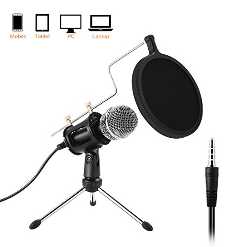 PC Mikrofon, Etpark mini Kondensatormikrofon mit 3.5mm klinke Aufnahme Mikrofon für Computer, Laptop, Mac, iPhone, iPad, Smartphone - Gaming, Singen, YouTube, Skype, Podcast, für Android PC oder Alle Smartphone