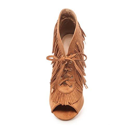 La Modeuse - Bottine peep toes (bout ouvert), en simili daim à lacets Camel