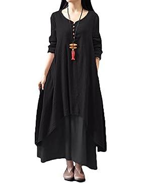 Romacci Donna Vestito Lungo Maxi Scollo a V e maniche lunghe vestito Cotone Lino lunga Casual Asimmetrico Cocktail...