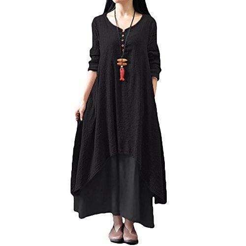 Romacci Frauen-beiläufige lose Kleid Fest Langarm Baumwolle Leinen Boho lang Maxi Kleid S-5XL Schwarz / Weiß / Rot / Gelb (XXL, Schwarz) (Leinen-baumwoll-kleid)