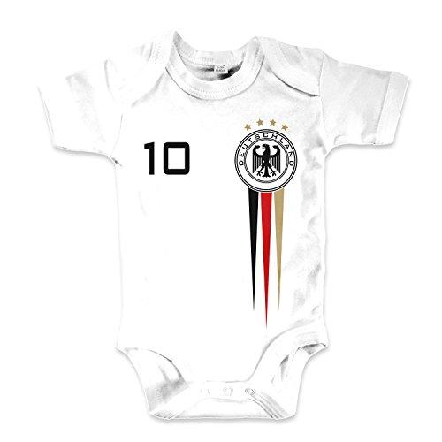 net-shirts Organic Baby Body mit Deutschland Germany Trikot Aufdruck Fußball Fan WM EM Strampler - Spielernummer wählbar, Größe 00-03 Monate-Spielernummer 01 - Fußball Body