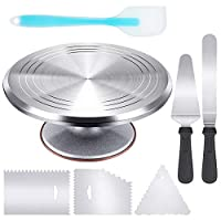 "Kootek Aluminium Alloy Revolving Stand 12"" Cakes Turntable with 12.7"" Angled Frosting, 3 Comb Icing Smoother, Silicone Spatulas Pie Server/Cutter Baking Decorating Tools"