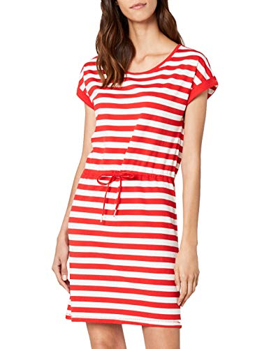ONLY NOS Damen onlAMBER SS FOLD UP Dress NOOS Kleid, Mehrfarbig (High Risk Red Stripes:Cloud Dancer), 38 (Herstellergröße: M) -