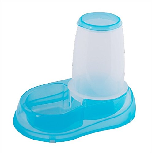 Dispensador de comida para perros o gatos Nobleza, de polipropileno color azul y transparente, largo 21,5 cm