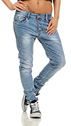 Fashion4Young 11543 Damen Jeans Röhrenjeans Hose Boyfriend Haremscut Damenjeans Übergrößen Pants (blau, 40)