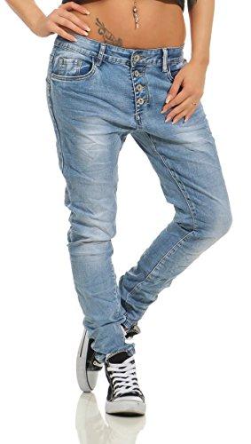 Fashion4Young 11543 Damen Jeans Röhrenjeans Hose Boyfriend Haremscut Damenjeans Übergrößen Pants (blau, 38)