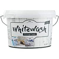 (13,99€/L) Kreidefarbe für Holz Vintage Look Shabby-Chic Antiklook Möbelfarbe White wash   weiß   1 Liter   + / - 10m²   Innen/aussen   Nassabriebbestänig