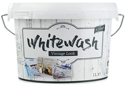 (13,99€/L) Kreidefarbe für Holz Vintage Look Shabby-Chic Antiklook Möbelfarbe White wash | weiß | 1 Liter | + / - 10m² | Innen/aussen | Nassabriebbestänig