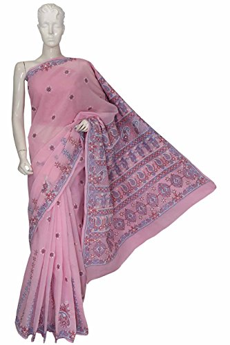 ADA Lucknowi Chikankari Needlecraft Casual/Party Wear Cotton Saree with Blouse A156850