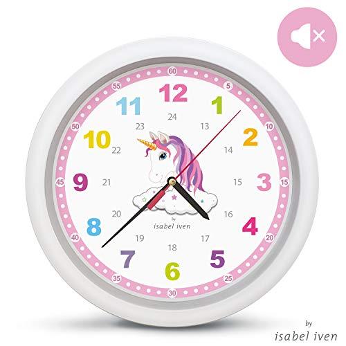 Isabel Iven Wanduhr Kinder Einhorn groß 30,5 cm - Farbenfrohe Kinderwanduhr mit Lautlosem Uhrwerk...