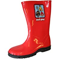 Boys Girls Kids Novelty Angry Birds Wellies Wellington Rain Boots UK10 Black