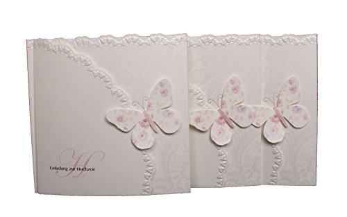 Einladungskarte Hochzeit Schmetterling 5er Pack