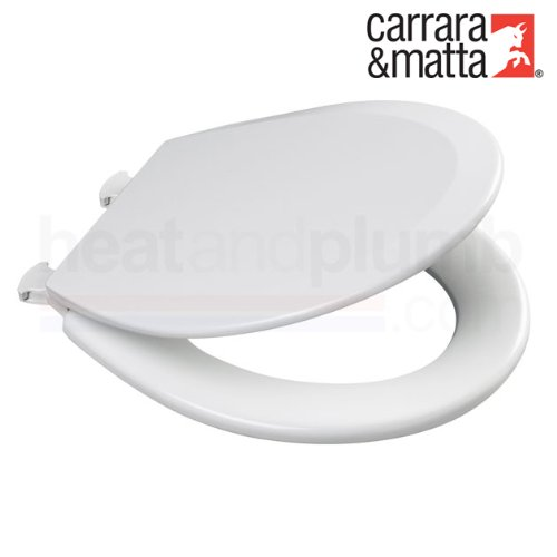 the best attitude c16dd 0bb9a Carrara Matta PROSEAT White Moulded Wood Toilet Seat and Cover with  Adjustable Smartlift Take Off Plastic Hinges