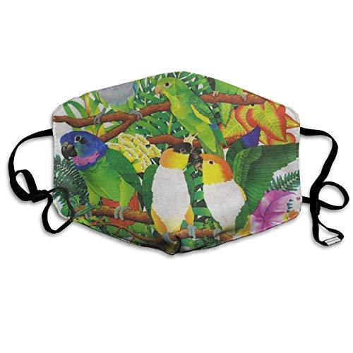 Vbnbvn Unisex Mundmaske,Wiederverwendbar Anti Staub Schutzhülle,Parrots Birds Mouth Mask,Unisex Mask Anti-dust Cotton Face Mask for Men and Women (Kostüm Parrot)