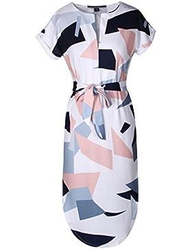 Fleasee Damen Sommerkleider V-Ausschnitt Kurzarm Blumen Kleider Abendkleid Knielang - Schulterfrei Strandkleid