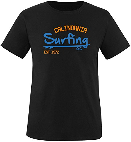 EZYshirt Surfing California Herren Rundhals T-Shirt Schwarz/Blau/Orange