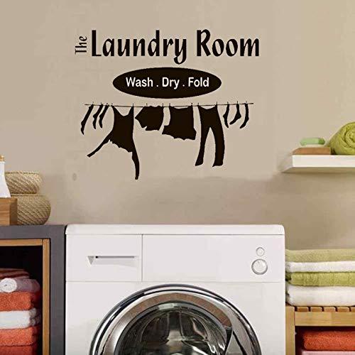 Waschküche Waschen Trockenen Falten Wandaufkleber Waschmaschine Dekorative Alphabet Wandtattoo Abnehmbare Vinyl Balkon aufkleber 56X45CM - Haut-ebene Ballon
