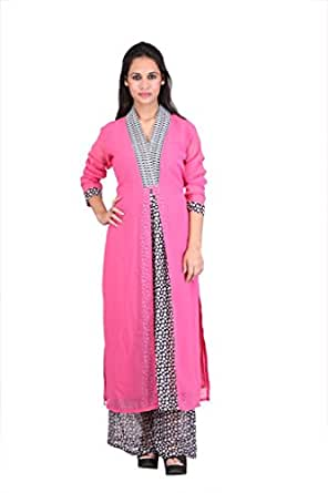 Stylish Straight Front Open With Dotts Print & Broad Border On neck Long kurti By SW