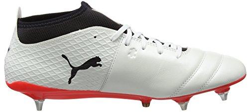 Puma One 17.2 MX SG, Chaussures de Football Homme Blanc (White-black-fiery Coral)