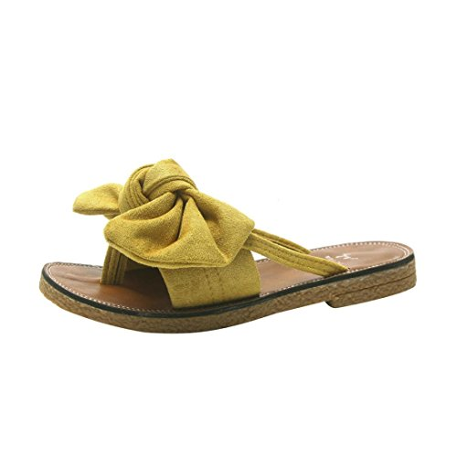 Kkangrunmy sandali donna bassi pelle, sandali donna bianchi sandalo alla romana,donne solido colore bow cravatta tacco piatto sandali pantofola scarpe da spiaggia pantofole sposa bianche (36, giallo)